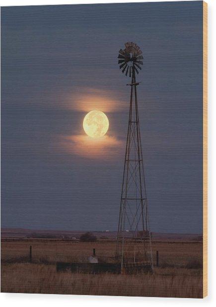 Super Moon And Windmill Wood Print