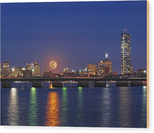 Super Moon Over Boston Wood Print