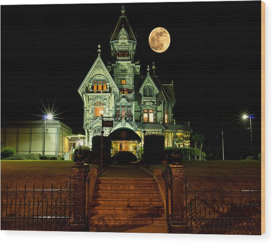 Super Moon Over Carson Mansion Wood Print
