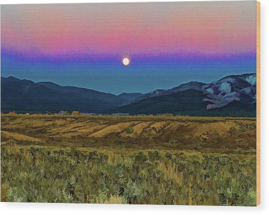 Super Moon Over Taos Wood Print