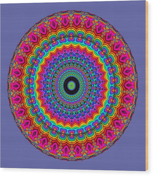 Super Rainbow Mandala Wood Print