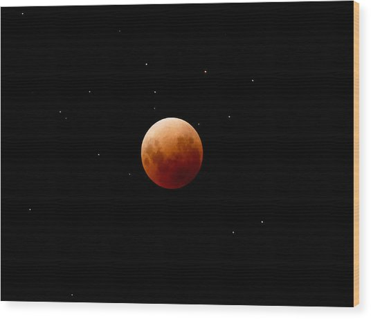 Super Red Blue Moon Eclipse Wood Print