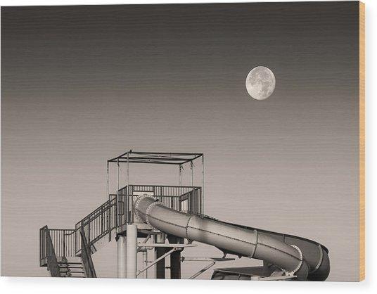 Super Slider Moon Wood Print