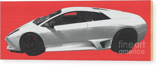 Supercar In White Art Wood Print