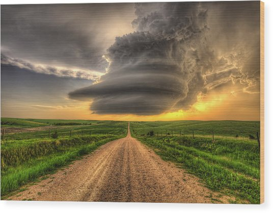 Supercell Highway Wood Print