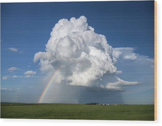 Supercell Rainbow Wood Print by James Hammett