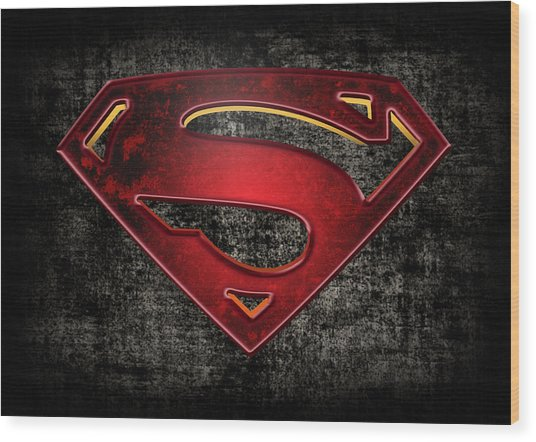 Superman Logo Digital Artwork Wood Print