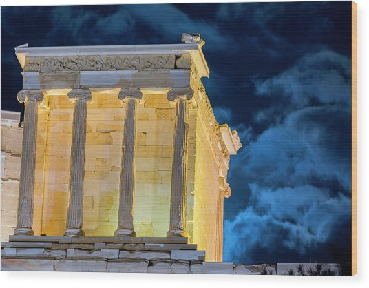 Wood Print featuring the photograph Supermoon In Acropolis by Nikos Stavrakas