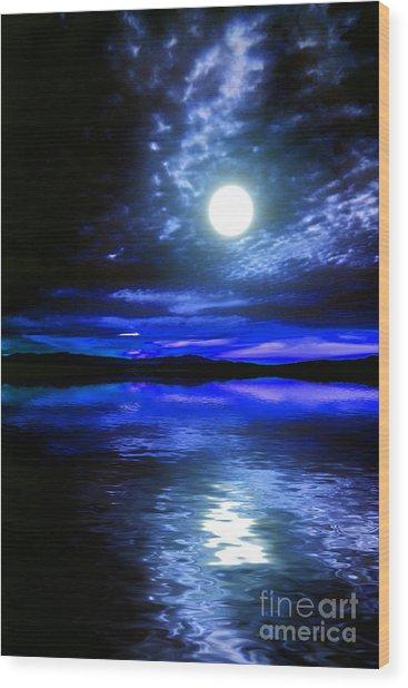 Supermoon Over Lake 2 Wood Print