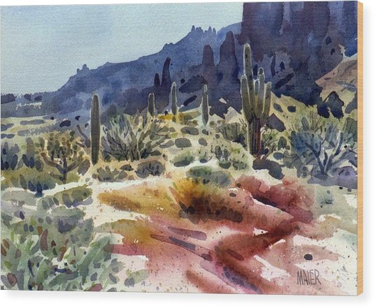 Superstition Mountain Wood Print by Donald Maier
