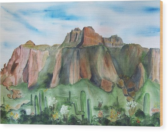 Superstition Mountain Wood Print by Vivian Larson