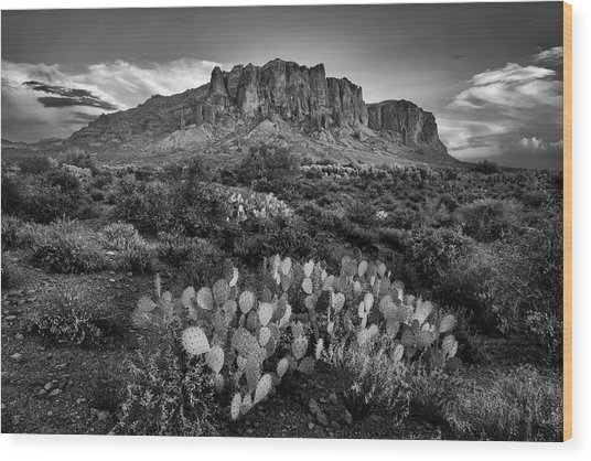 Superstition Mountains In Black And White Wood Print