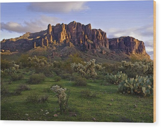 Superstitions Mountains On Green Wood Print