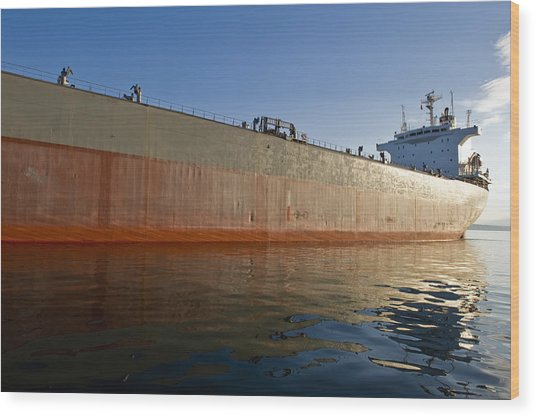Supertanker Wood Print by Tom Dowd