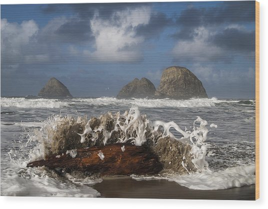 Surf And Three Arch Rocks Wood Print