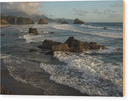 Surf At Crescent Beach Wood Print