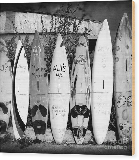 Wood Print featuring the photograph Surf Board Fence Maui Hawaii Square Format by Edward Fielding