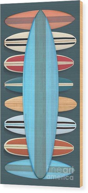 Wood Print featuring the digital art Surf Boards 5 by Edward Fielding