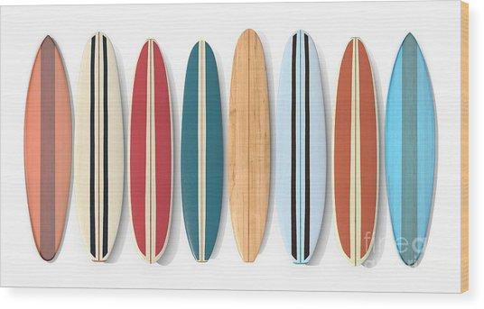 Wood Print featuring the digital art Surf Boards Row by Edward Fielding