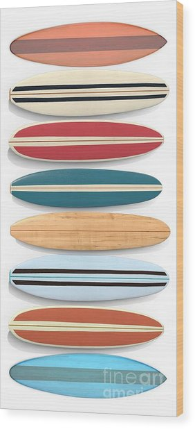 Wood Print featuring the digital art Surf Boards Tee And Phone Case by Edward Fielding