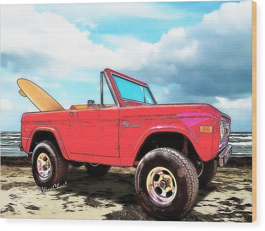 Surf Bronco Beyond The 4 Wheel Drive Only Sign Padre Island Wood Print