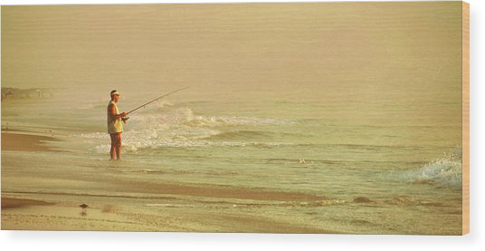 Surf Casting Wood Print by JAMART Photography
