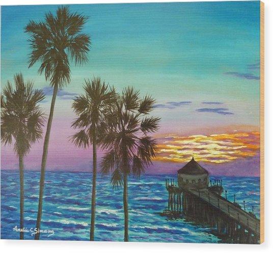 Surf City Sunset Wood Print
