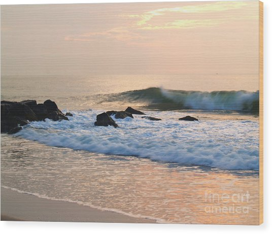 Surf In Peachy Ocean Grove Sunrise Wood Print