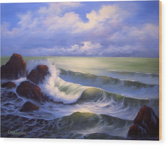 Surf Melody Wood Print by Francine Henderson