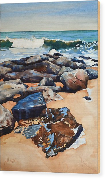 Surf On The Jetty Wood Print