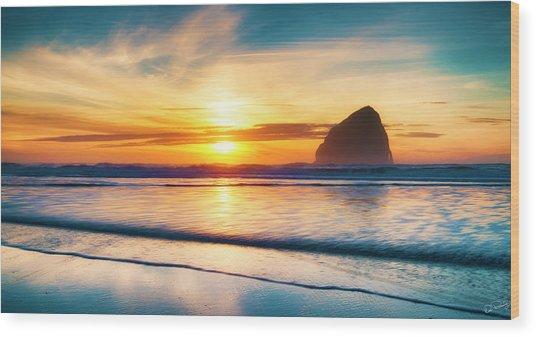 Surf Sunset Wood Print