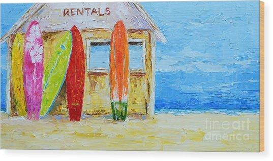 Surf Board Rental Shack At The Beach - Modern Impressionist Palette Knife Work Wood Print