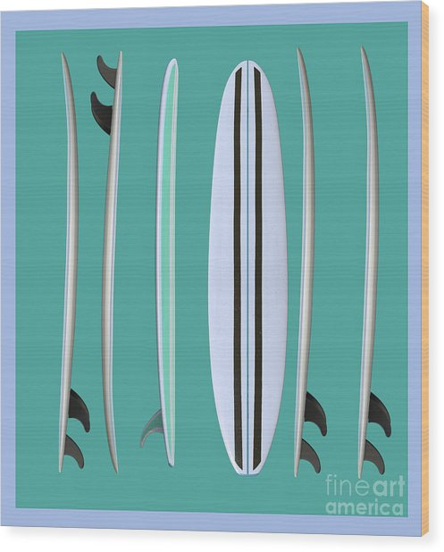 Wood Print featuring the digital art Surfboards Blue Square by Edward Fielding