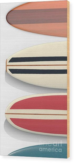 Wood Print featuring the digital art Surfboards Cell Phone Case by Edward Fielding