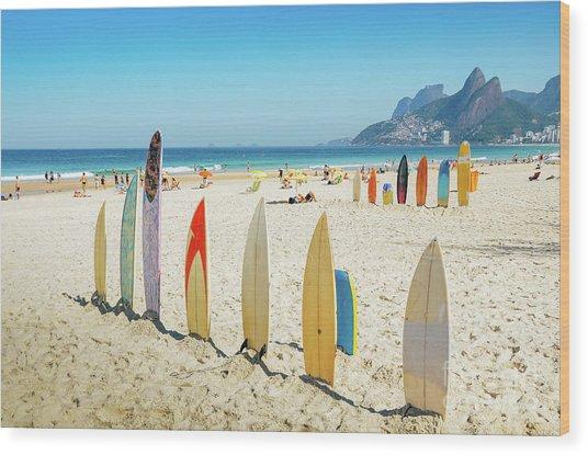 Surfboards On Ipanema Beach, Rio De Janeiro Wood Print