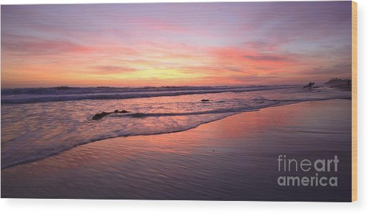 Surfer Afterglow Wood Print