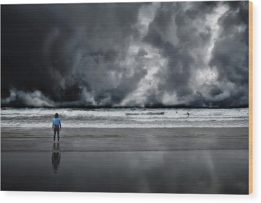 Surfer And An Angry Sky Wood Print