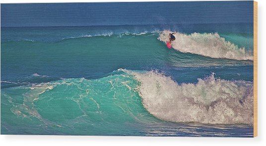 Surfer At Aneaho'omalu Bay Wood Print