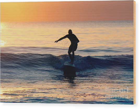 Surfer At Dusk Wood Print