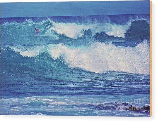 Surfer Catching A Wave Wood Print