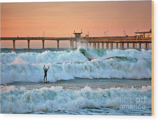 Surfer Celebration Wood Print