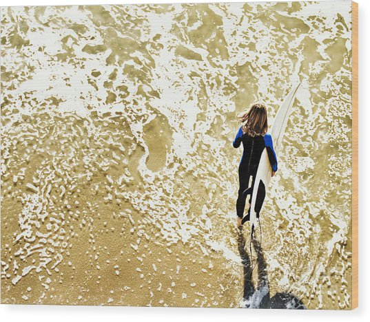 Surfer Girl At Swami's  Wood Print