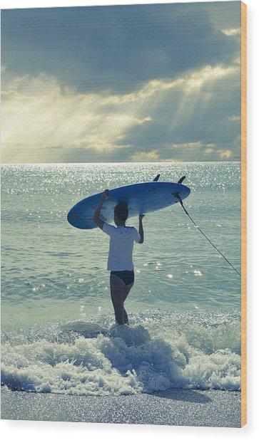 Surfer Girl Wood Print
