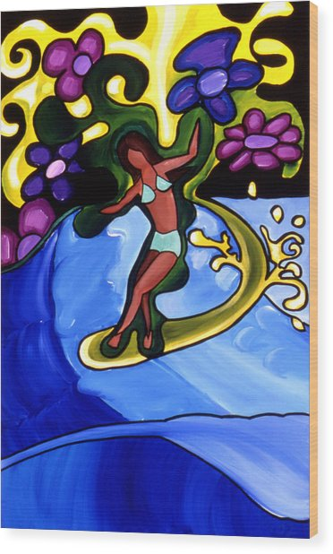 Surfer Girl Wood Print by Nathan Paul Gibbs