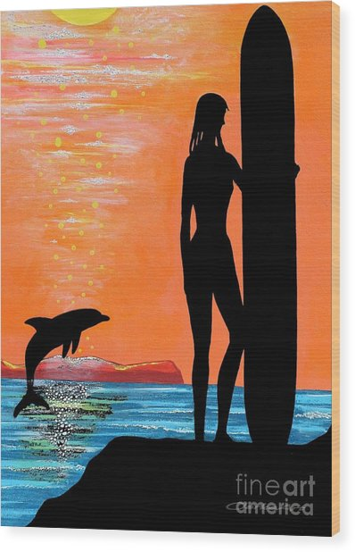 Surfer Girl With Dolphin Wood Print
