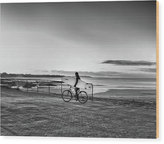 Surfer On A Bike Wood Print