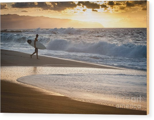 Surfer On Beach Wood Print