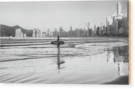 Surfer On The Beach Wood Print