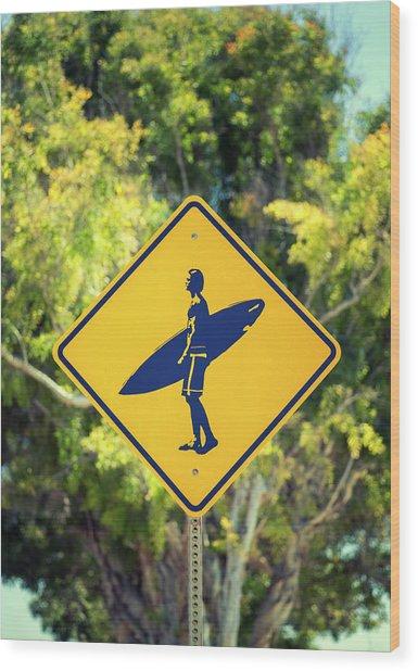 Surfer Xing 2 Wood Print