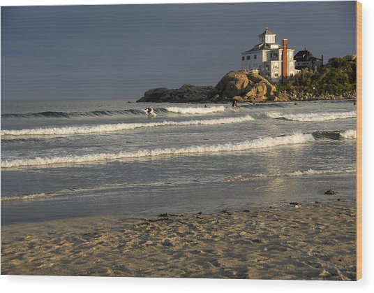 Surfers At Good Harbor Wood Print